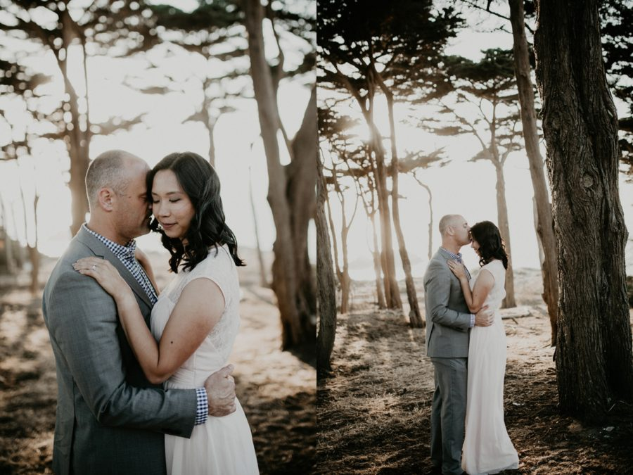 couple engagement session in woods, trees at beach, San Francisco Beach Engagement Photos