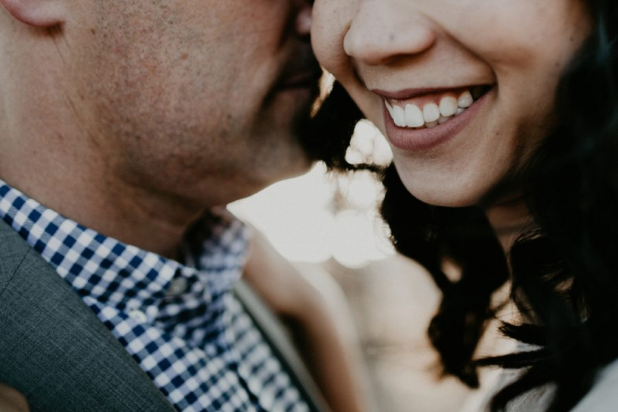 close up of womans smile, San Francisco Beach Engagement Photos