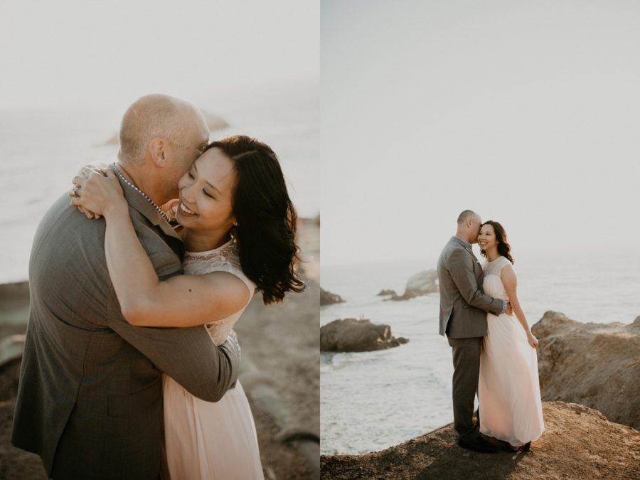 portraits of couple on rocky beach, San Francisco Beach Engagement Photos
