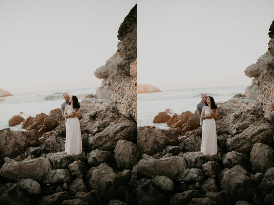 portrait of couple on rocky shoreline, San Francisco Beach Engagement Photos