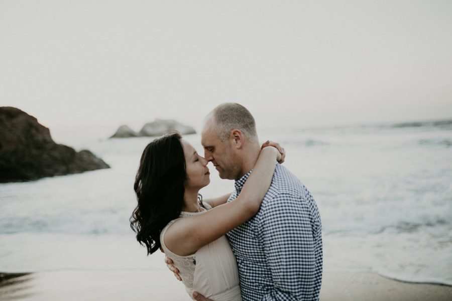 couple posing on the beach, San Francisco Beach Engagement Photos