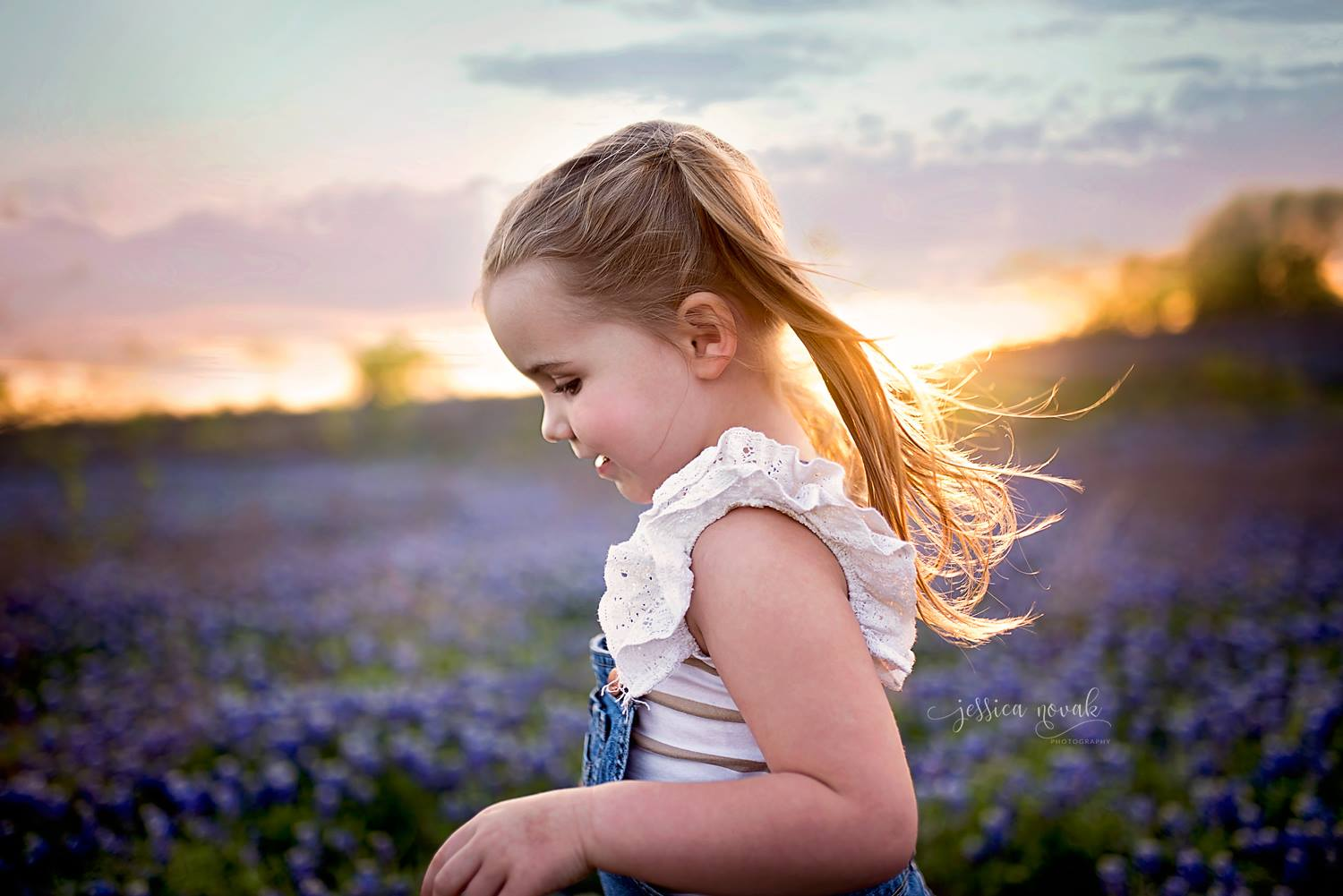 Girl in blue bonnet field at sunset, Jessica Novak Photography Daily Fan Favorite