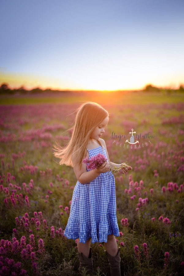 girl picking wildflowers, portraits in wildflower field, sunset over field, Daily Fan Favorite on Beyond the Wanderlust