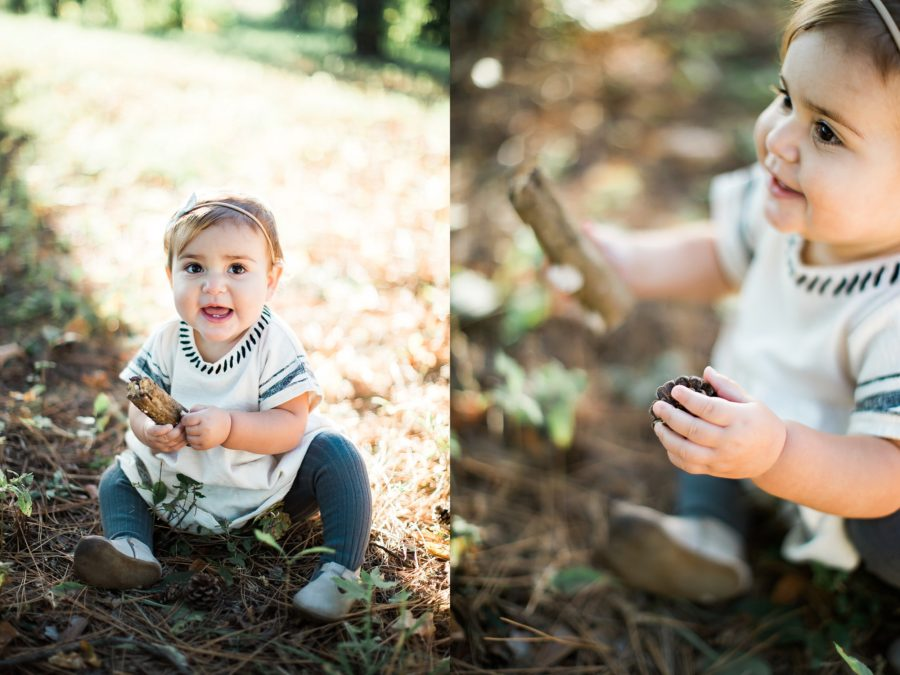 Outdoor Family Of 5 Photos Portrait Baby Sitting In Pine Needles Pinecone Babys Hand