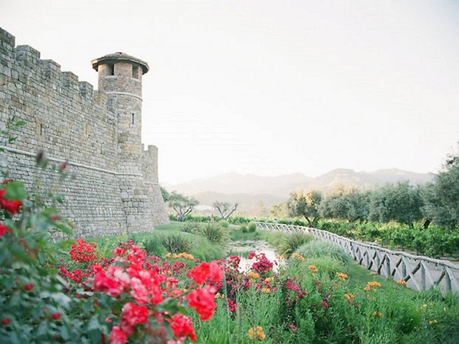wildflowers outside castle wall, Castello di Amorosa, The Red Queen: Stylized Teen Photo Shoot in California