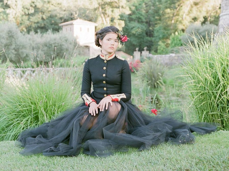 teen posing in grass, black tulle skirt, The Red Queen: Stylized Teen Photo Shoot in California