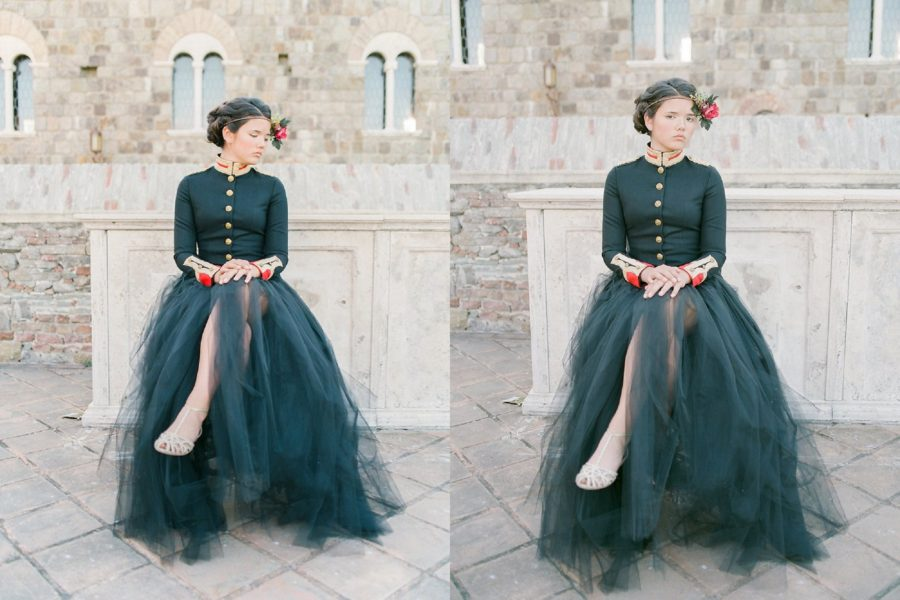 girl sitting in front of stone wall, The Red Queen: Stylized Teen Photo Shoot in California