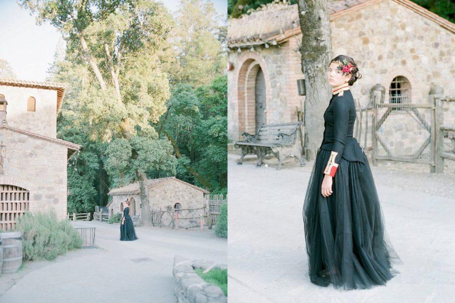 Castello di Amorosa in California, girl walking in queen costume, The Red Queen: Stylized Teen Photo Shoot in California