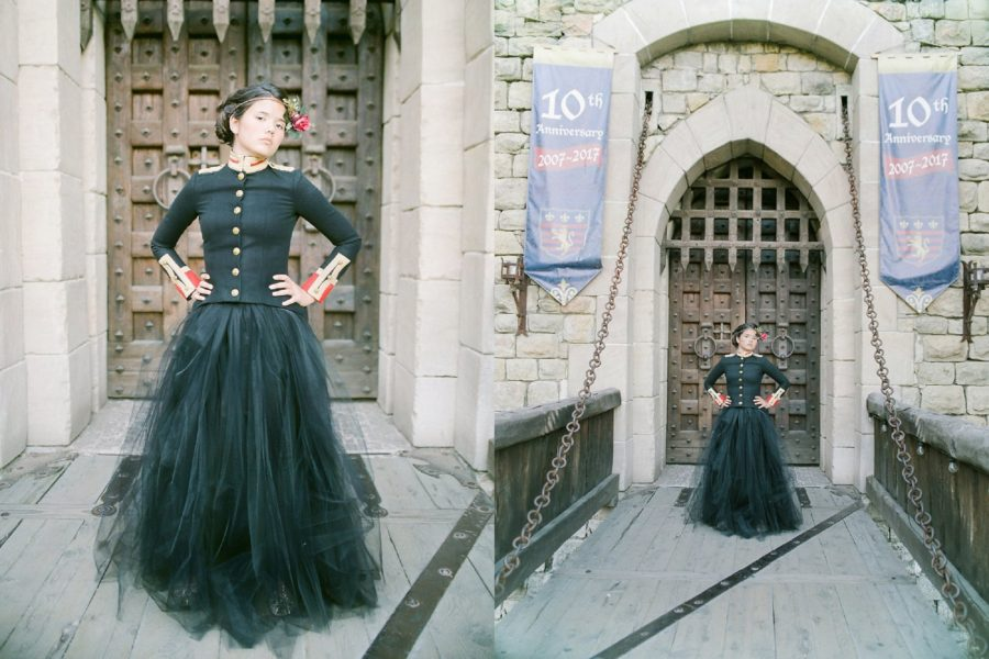 Castello di Amorosa, girl in front of castle gates, drawbridge, The Red Queen: Stylized Teen Photo Shoot in California