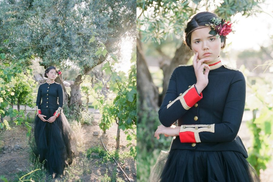 portrait of girl in front of trees, The Red Queen: Stylized Teen Photo Shoot in California