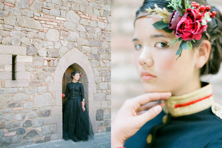 girl in small doorway, red rose hair piece, The Red Queen: Stylized Teen Photo Shoot in California