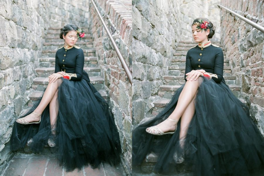 girl sitting on stone steps, black tulle skirt, The Red Queen: Stylized Teen Photo Shoot in California