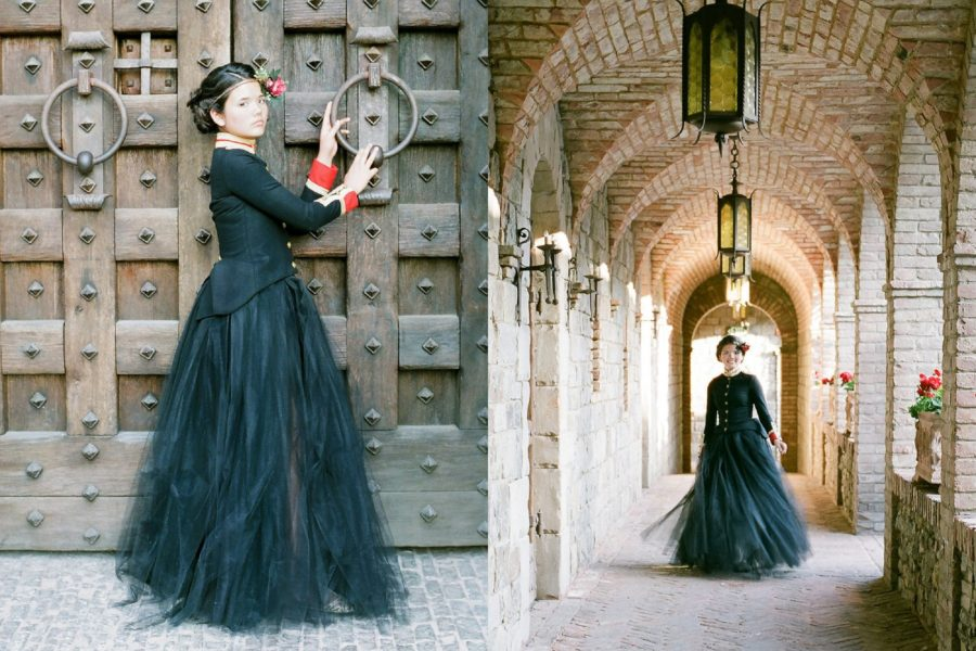 Pictures in old castle, girl dressed as queen, large door knockers, The Red Queen: Stylized Teen Photo Shoot in California