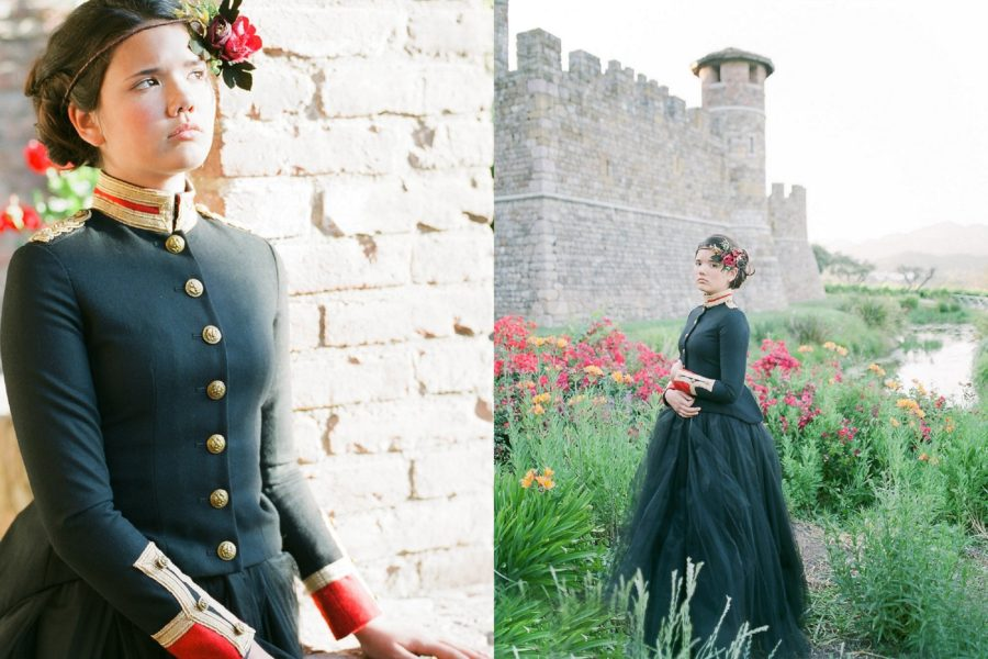 girl in front of castle wall, wildflowers around stone wall, The Red Queen: Stylized Teen Photo Shoot in California
