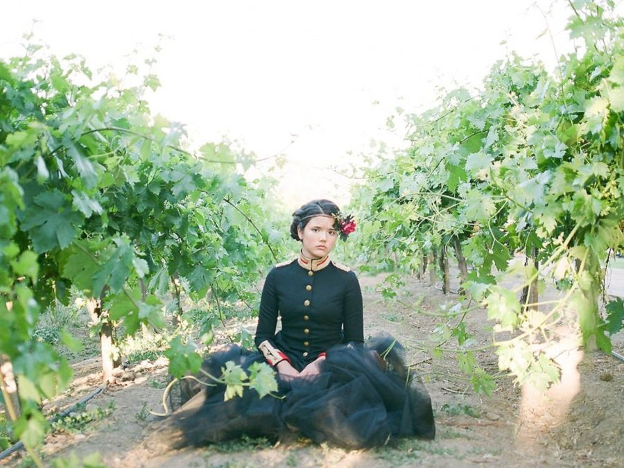 picture of girl sitting among grape vines, The Red Queen: Stylized Teen Photo Shoot in California