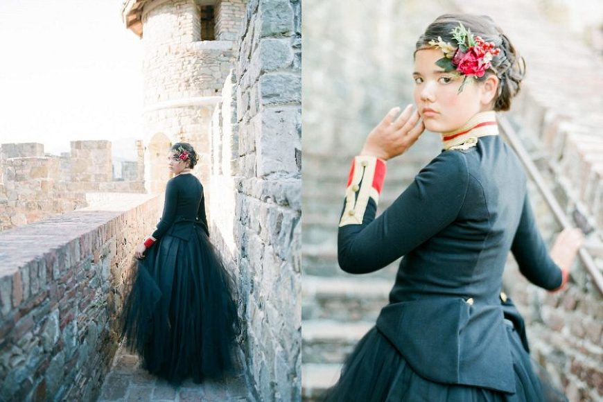 Styled Shoot at castle, The Red Queen: Stylized Teen Photo Shoot in California