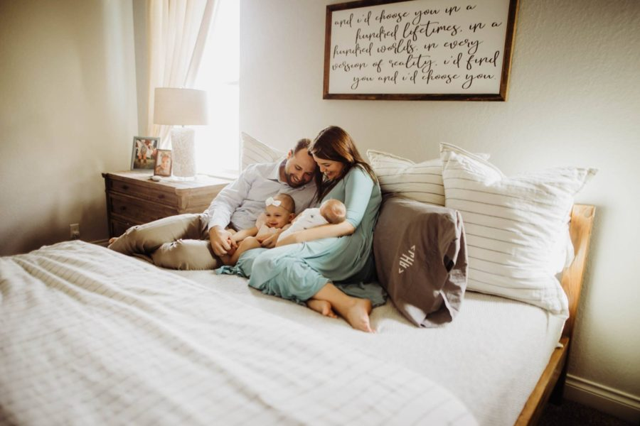 family snuggling on bed, Daily Fan Favorite