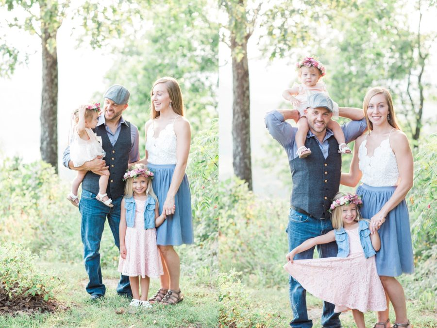 Family of 4 smiling, Missouri Family Pictures with Flower Crowns