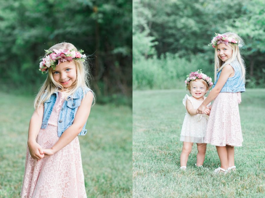 Portraits outside in grass, photo of siblings, Missouri Family Pictures with Flower Crowns