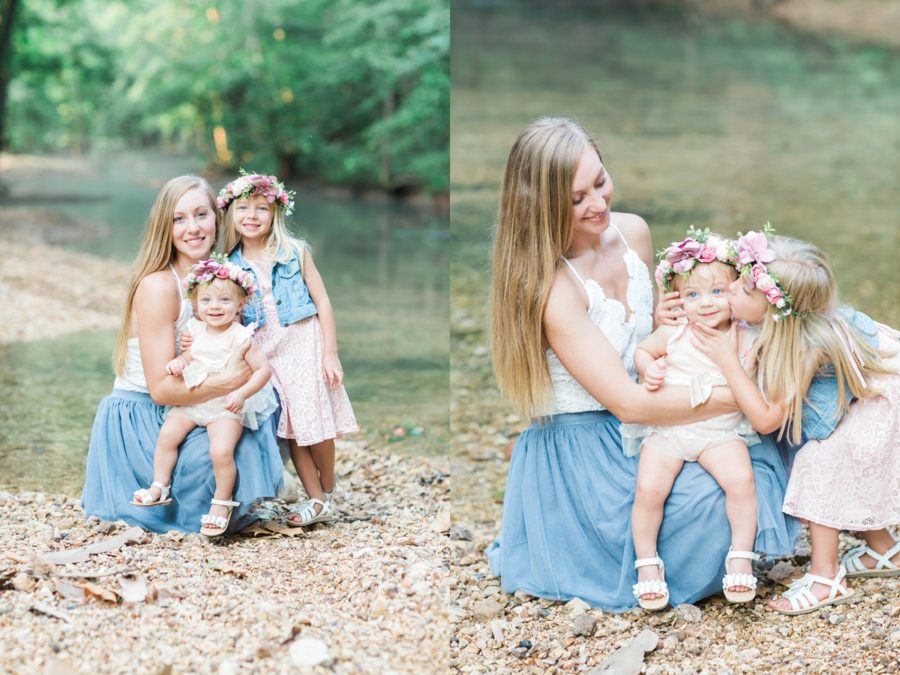 Mom posing with daughters, Photo in front of river, Missouri Family Pictures with Flower Crowns