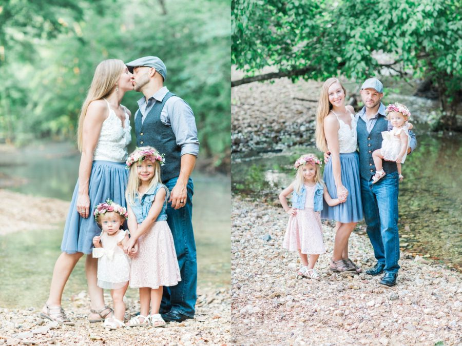 Parents kissing and kids smiling for photo, Family picture in creek bed, Missouri Family Pictures with Flower Crowns