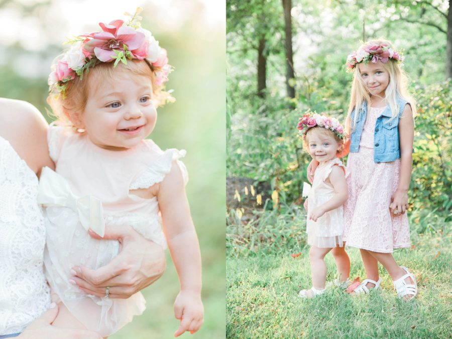 Girls with flower crowns, baby smiling with crown, Missouri Family Pictures with Flower Crowns