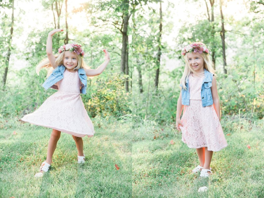 girl twirling in grass, girl with flower crown, Missouri Family Pictures with Flower Crowns