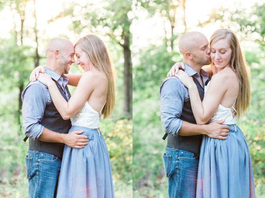 man and woman touching foreheads, couple embracing, Missouri Family Pictures with Flower Crowns