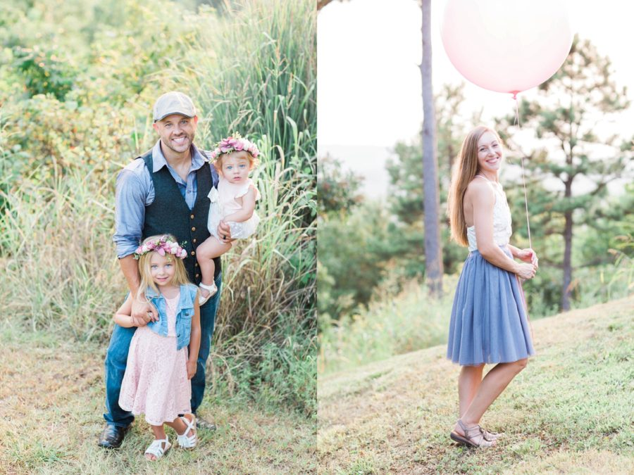 Family smiling for photo, Outdoor family session, big pink balloon, Missouri Family Pictures with Flower Crowns