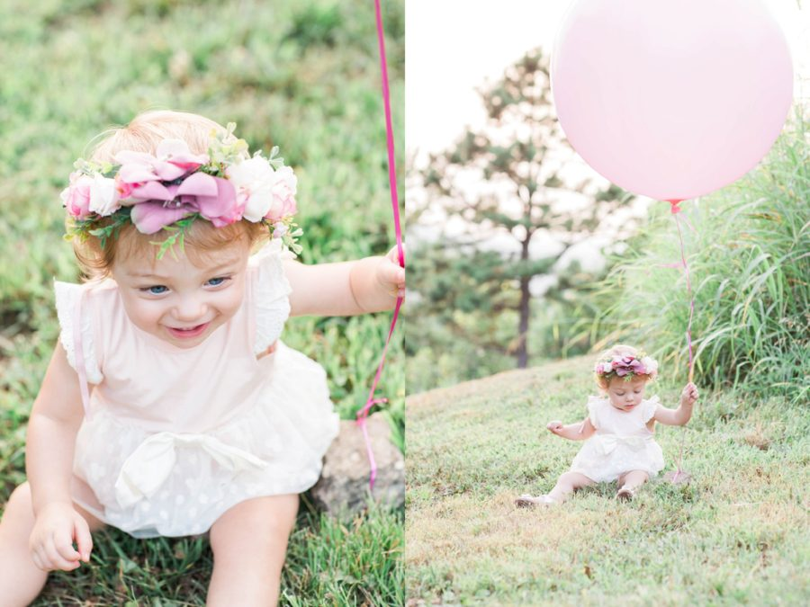 baby holding big balloon, pink balloon, Missouri Family Pictures with Flower Crowns