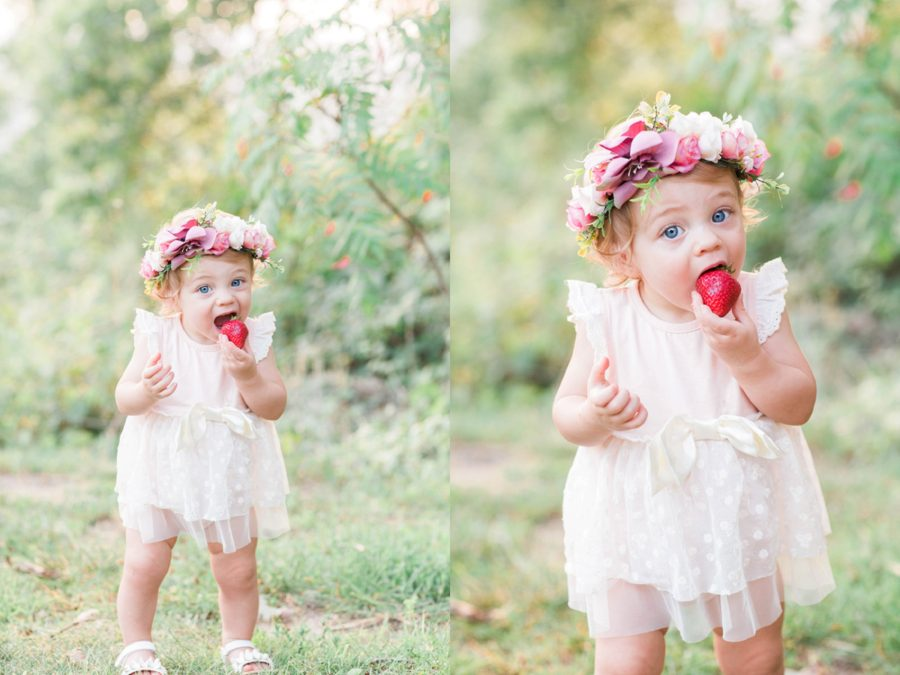 baby eating strawberry, girl in lace dress eating fruit, Missouri Family Pictures with Flower Crowns