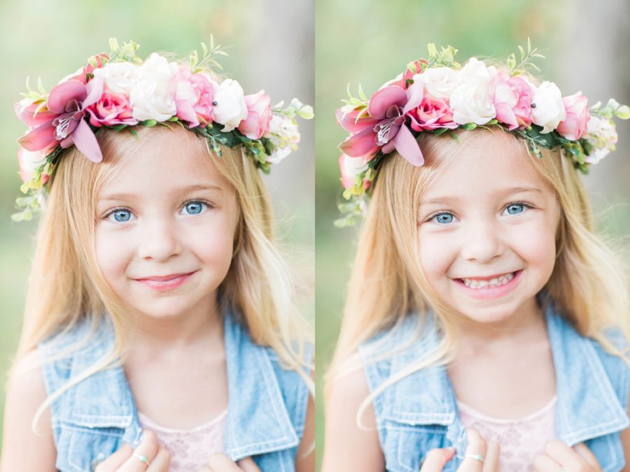 portrait of young girl, girl wearing flower crown, Missouri Family Pictures with Flower Crowns