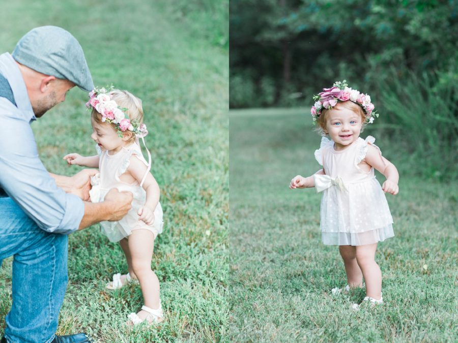 baby walking in grass, Missouri Family Pictures with Flower Crowns