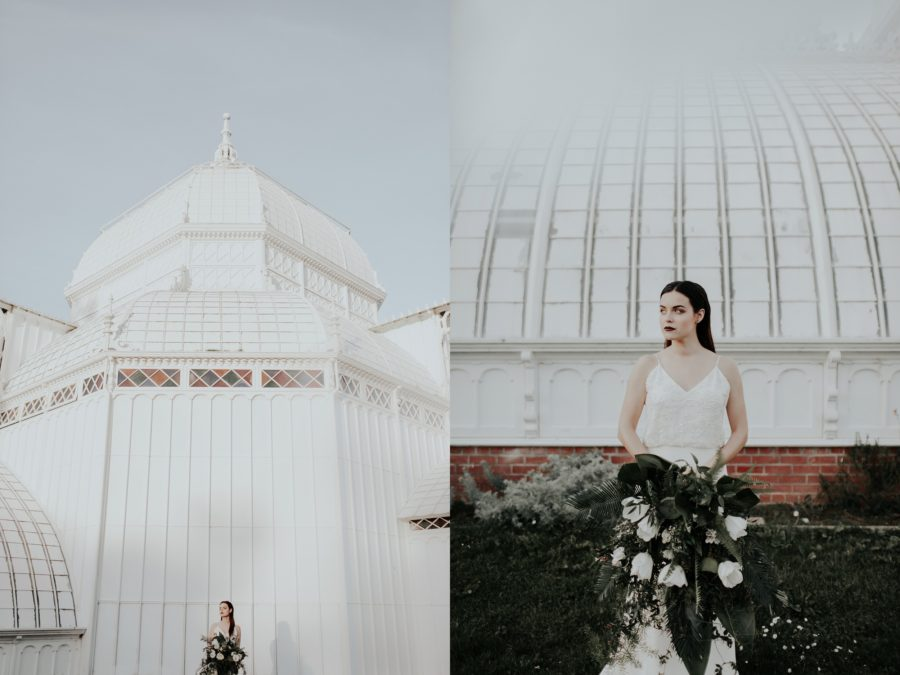 Bride outside of white building, pictures outside of conservatory of flowers, Edgy Styled Wedding Portraits in San Francisco