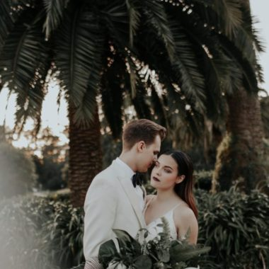 Wedding couple in front of palm tree, Edgy Styled Wedding Portraits in San Francisco