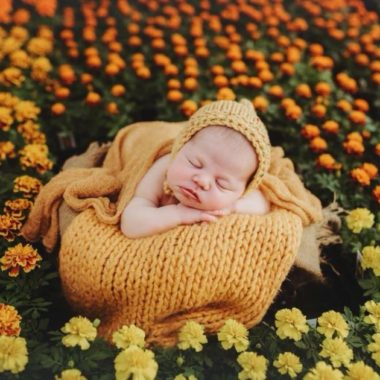 Newborn baby sleeping among flowers, Daily Fan Favorite on Beyond the Wanderlust by Andrea Martin Photography