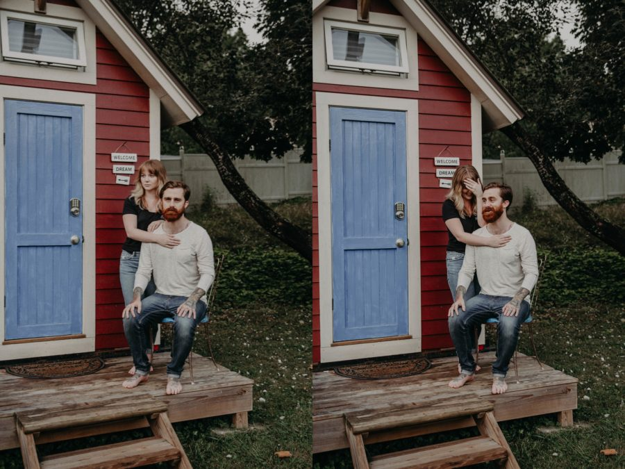 Man and woman on porch on tiny house, Couples Lifestyle Session in North Carolina Tiny House