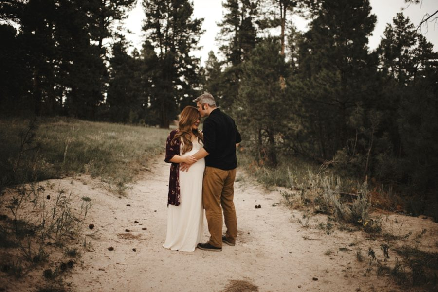 Maternity pictures outdoors, pine trees, Moody Sunflower Maternity Session in Colorado