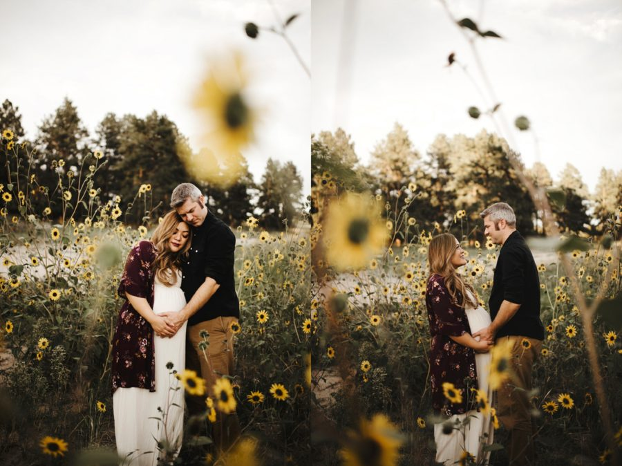 Portrait session with couple outdoors, Moody Sunflower Maternity Session in Colorado