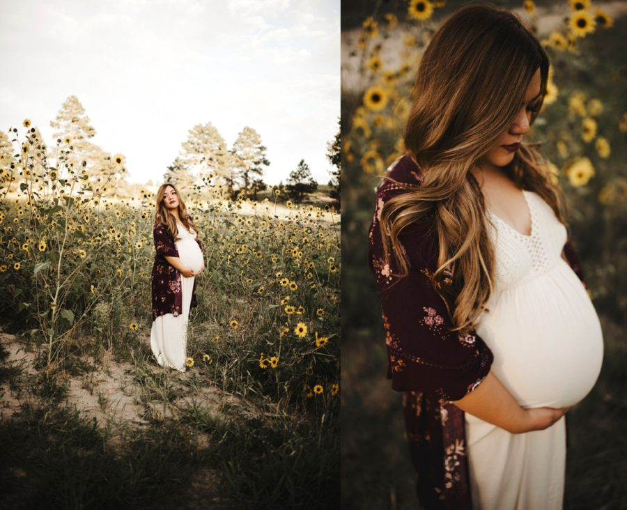Maternity posing ideas, Pictures of pregnant woman in white dress, Moody Sunflower Maternity Session in Colorado