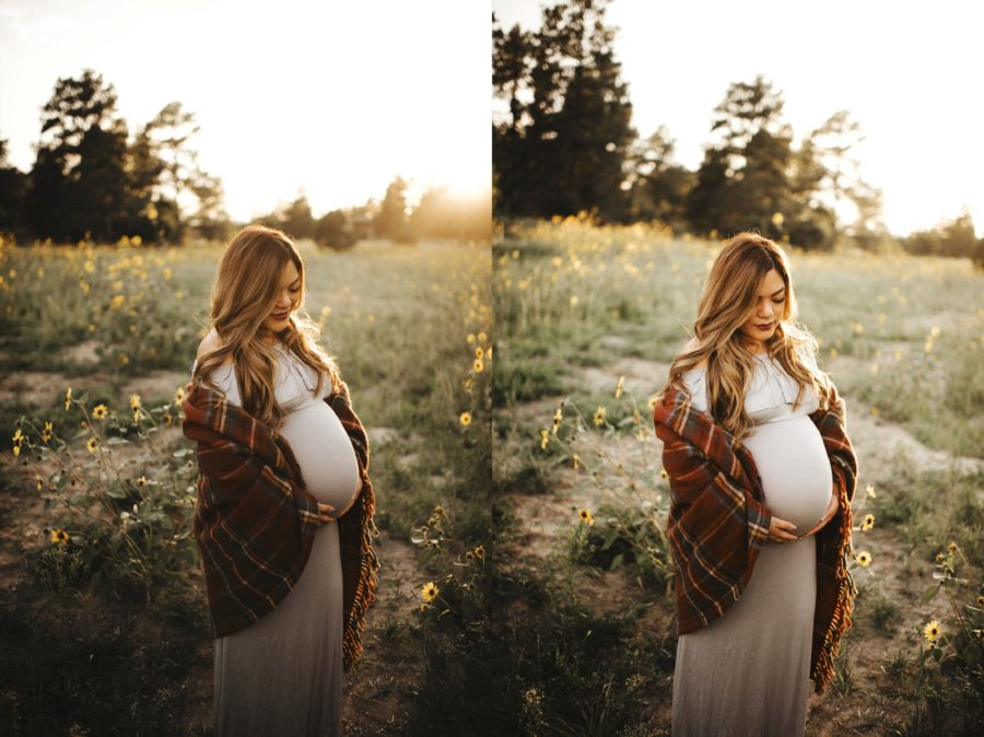 Woman standing in field with blanket around her, maternity photos with blanket, Moody Sunflower Maternity Session in Colorado