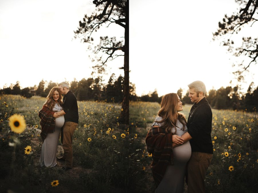 Pictures of couple outside in feild, maternity pictures outside, Moody Sunflower Maternity Session in Colorado