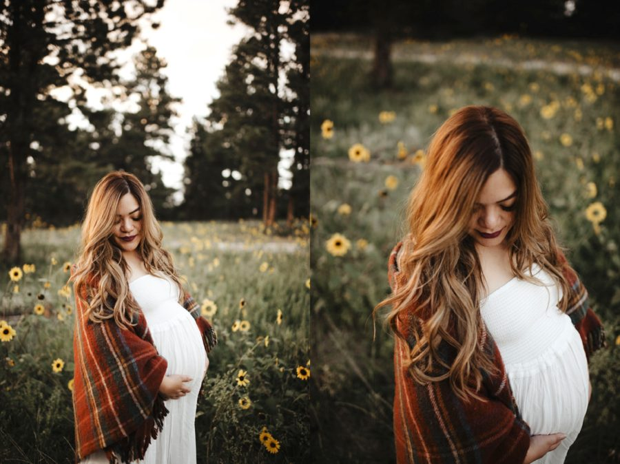 What to wear for maternity pictures, Moody Sunflower Maternity Session in Colorado
