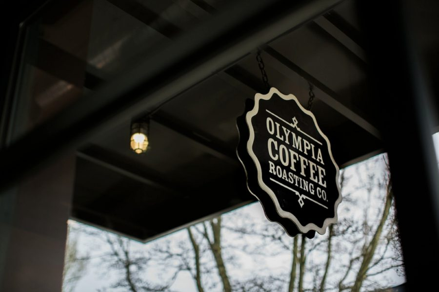 Olympia Coffee Roasting sign, Springtime Engagement Photos in Downtown Olympia