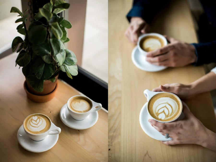 two mugs of coffee, latte foam designs, Springtime Engagement Photos in Downtown Olympia