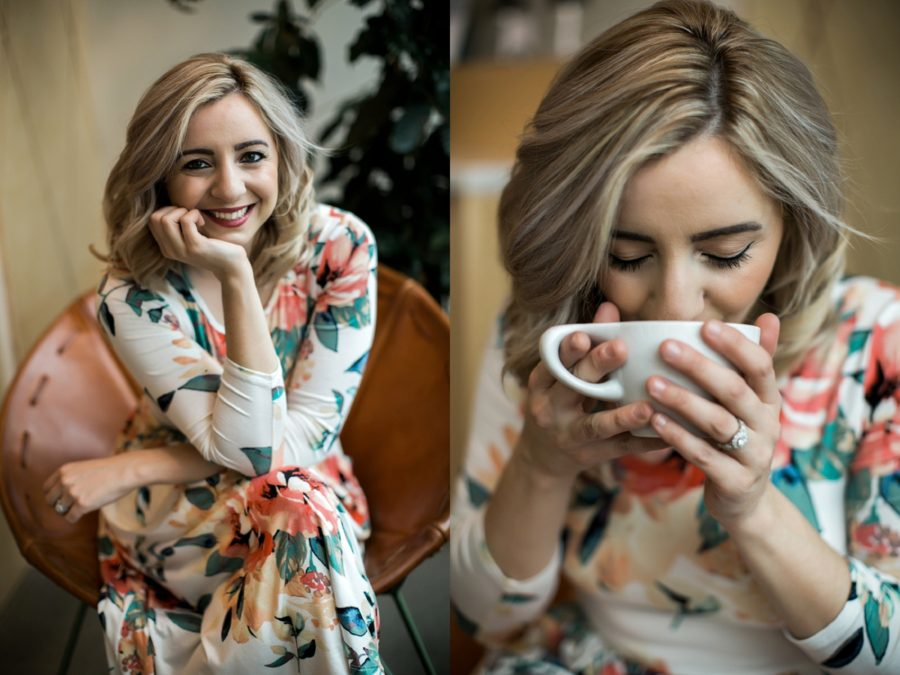 Woman smiling and drinking from mug, Springtime Engagement Photos in Downtown Olympia