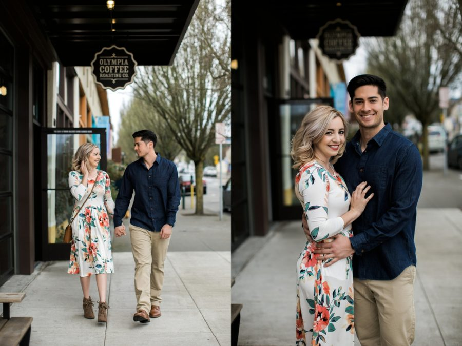 Couple walking on sidewalk outside shops, Springtime Engagement Photos in Downtown Olympia