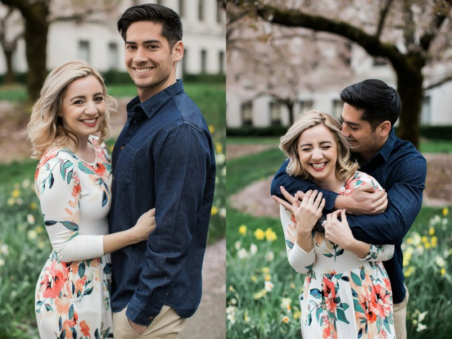 Picture of man and woman posing for engagement photos, White floral dress, Springtime Engagement Photos in Downtown Olympia