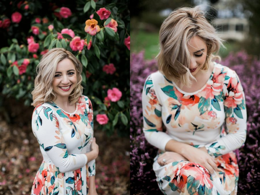 Woman in white long sleeve floral dress, portraits of woman with flowers, Springtime Engagement Photos in Downtown Olympia