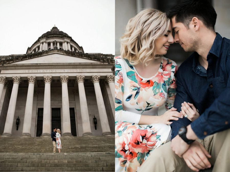 Couple on steps of state capital, Washington state capital building, Springtime Engagement Photos in Downtown Olympia